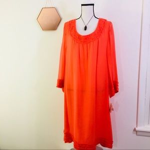 Coral Silk Dress NWT